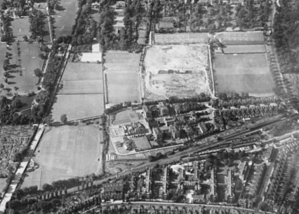 In 1930 DHFC played on a field on the site of the current astro turf, with a covered roof on one side.