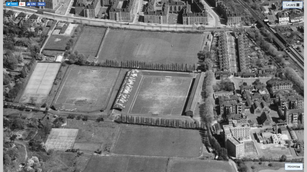 DHFC pitch in 1949, on the site of the current stadium